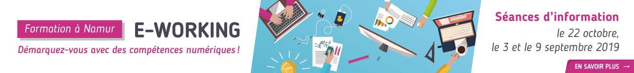 Bannière site e-working compétence numérique formation gratuit