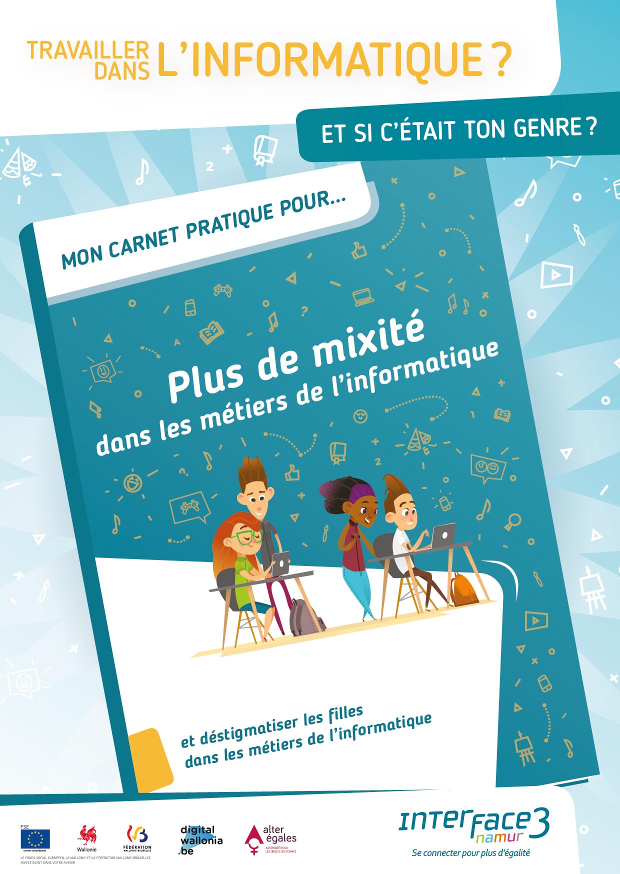 """Visuel avec la couverture de """"Mon carnet pratique pour... Plus de mixité dans les métiers informatiques"""""""