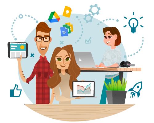 Visuel représentant 3 personnes collaborant à distance avec les outils Google